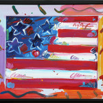 About Peter Max Flag Heart Framed Acrylic Canvas Painting