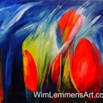 Abstract Modern Art And Colorful Flowers