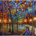 Abstract Oil Painting Park Night Original Paintings Canvas