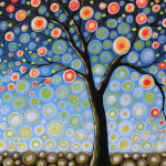 Abstract Tree Midnight Painting