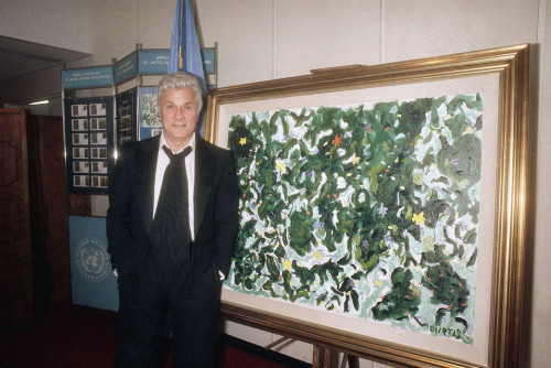 Actor Tony Curtis Stands Next One His Paintings That Was Printed