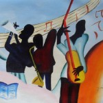 African American Jazz Band Black Art Oil Painting