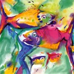 Alfred Gockel Colorful Fish Painting Anysize Off