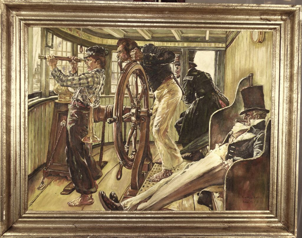 American Art River Pilot Vintage Copy From Norman Rockwell