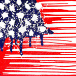 American Flag Painting Abstract Plastic Wrapped Fine