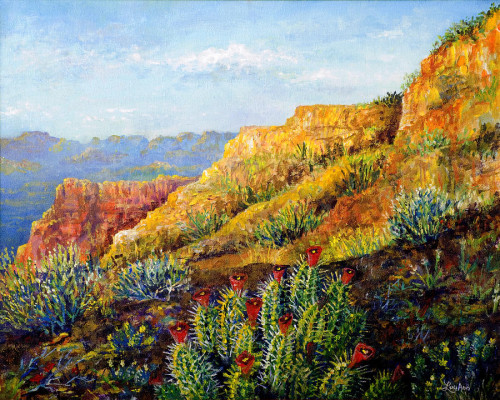 And Cactus Painting Lou Ann Bagnall Desert Fine Art