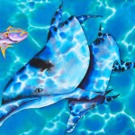 And Dolphins Painting Yellowtail Snapper Fine Art Print