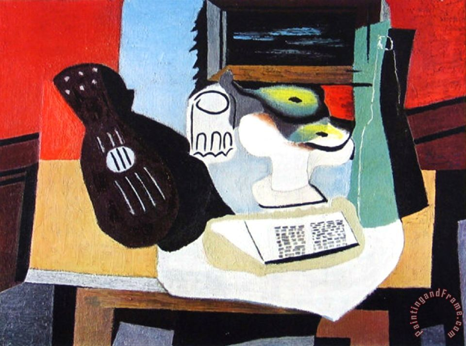 And Fruit Painting Pablo Picasso Guitar Glass Art Print