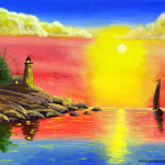 And Sailboat Painting Sunset Lighthouse