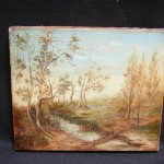 Antique Century Oil Painting Flowing River Bridge From
