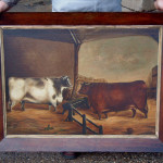 Antique English Oil Painting Two Cows