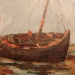 Antique French Oil Painting Boat Albert Douget