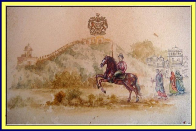Antique Miniature Painting British Raj India Horseman For Sale