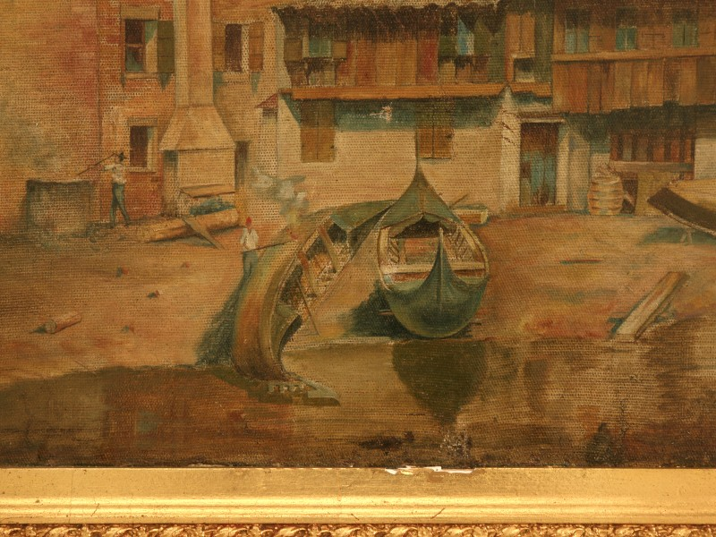 Antique Oil Painting Valiant Village The Sea Signed For Sale