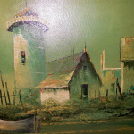 Antique Signed Oil Painting Sail Boat Ship Yard Lighthouse Seascape