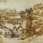 Arno Landscape Pen And Ink Over Partially Erased Pencil
