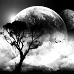 Art Black And White Clouds Moon Tree Fav