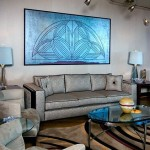Art Deco Living Room Silver Couch And Blue Painting