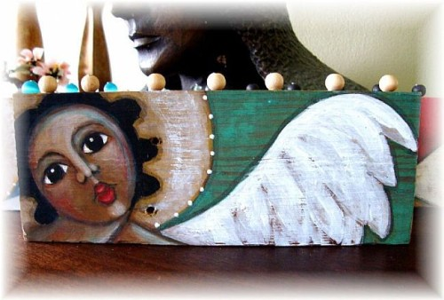 Art Folk Angel Painting Wood Artist Cyra Cancel