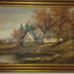 Authentic Antique Oil Painting Country Cottage For Sale
