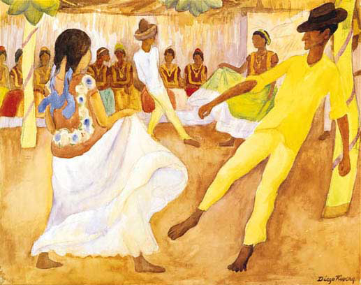 Baile Tehuantepec Painting Diego Rivera Oil