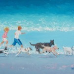 Beach Painting Two Ren Running Five Dogs