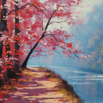 Beautiful Examples Landscape Paintings Lakeside Path