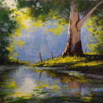 Beautiful Examples Landscape Paintings River Eucalyptus Tree
