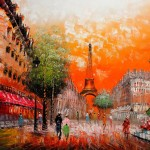 Beautiful Sunset Paris High Quality Oil Painting Canvas Size