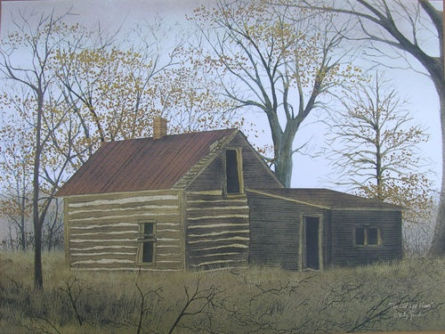 Billy Jacobs The Old Log House Primitive Print Art Folk