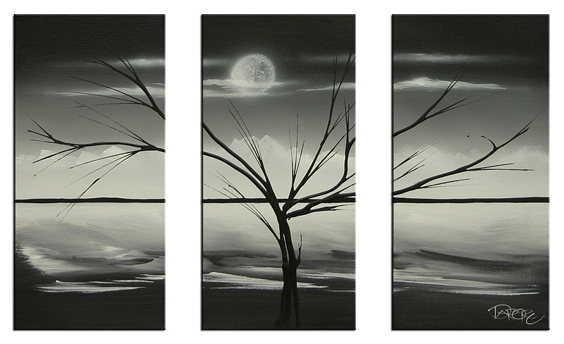 Black And White Abstract Art Landscape Painting