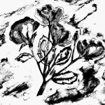 Black And White Abstract Roses Painting