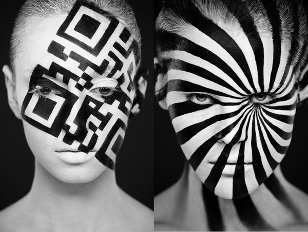 Black And White Body Art Face Author Artistic Painting