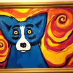 Blue Dog Orange Swirls