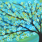 Blue Gold Abstract Tree The Art Colony