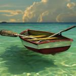 Boat Clear Water Painting Fine Art Print