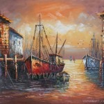 Boat Oil Painting Wholesale Unframed
