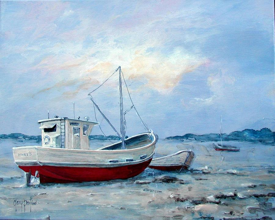 Boats Shore Painting Gary Partin Old Fine Art