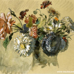 Bouquet Flowers Painting Eugene Delacroix