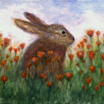 Bunny Painting Maureen Ida Farley Poppy Fine Art Prints