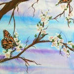 Butterflies Are Perched Apple Blossom Branches And Each One