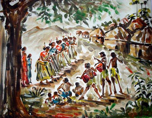 Buy Indian Village Group Dance Canvas Painting Online From Patna India