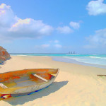 Caribbean Boat Painting Colorful Beached Fine Art