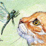 Cat And Dragonfly Painting Fine Art Print
