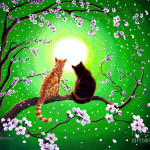 Cats Spring Night Painting Fine Art