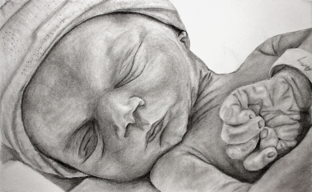 Charcoal Art Sweet Angel Into Painting