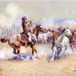 Charles Marion Russell Navajo Wild Horse Hunters Art Oil Paintings For