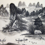 Chinese Landscape Paintings Water Village