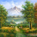 Classic Mountain Landscape Oil Painting Tidebuy
