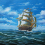 Clipper Ships Oil Painting Sailing Pirate Ship